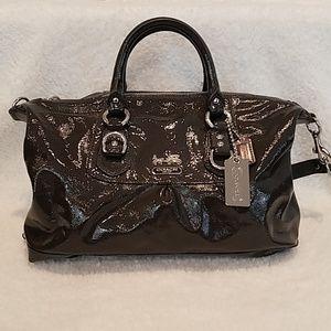 Coach Madison Sabrina Gray Patent Leather Satchel